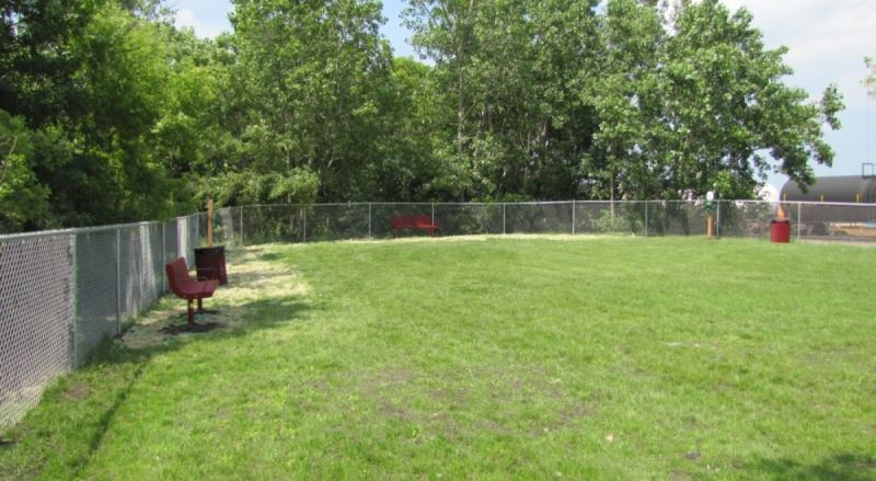 A large grassy area surrounded by chain link fence.