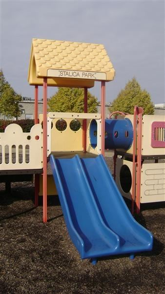 Blue, red, and brown play equipment.