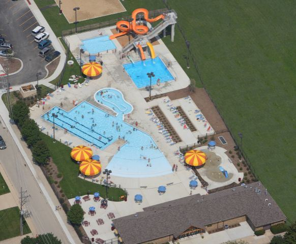 Overhead view of the water park.