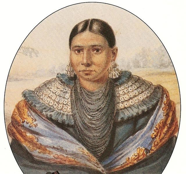 A painting of a Native American woman.