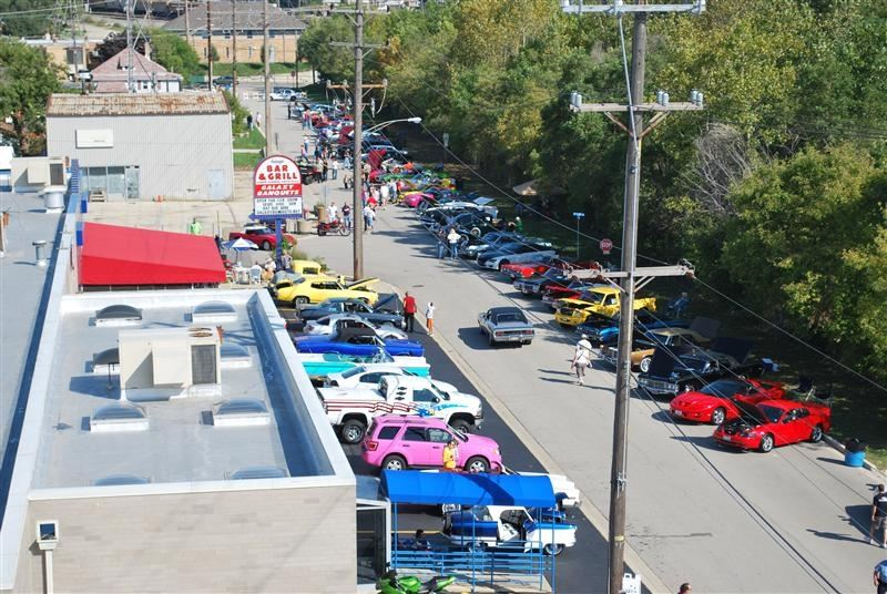 Overhead view of the car show.