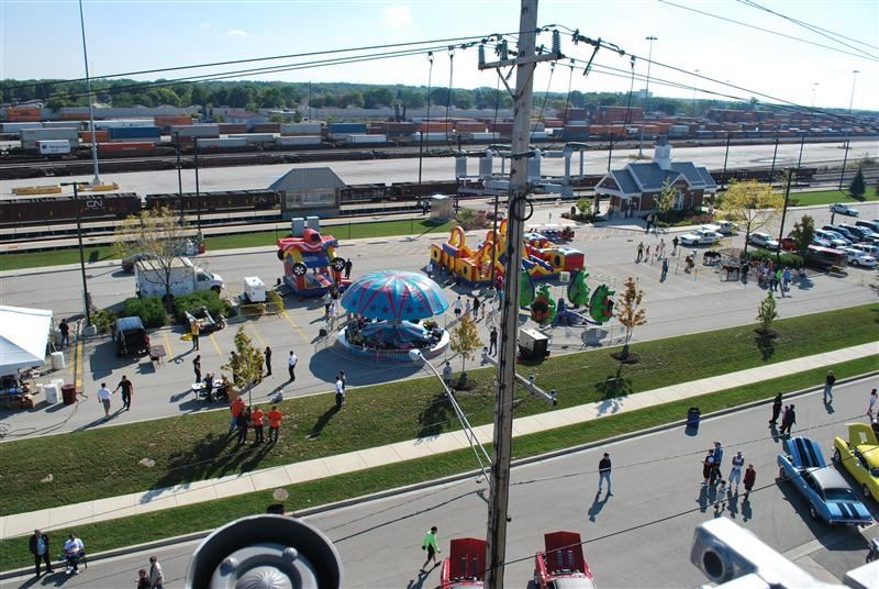 Overhead view of carnival rides.
