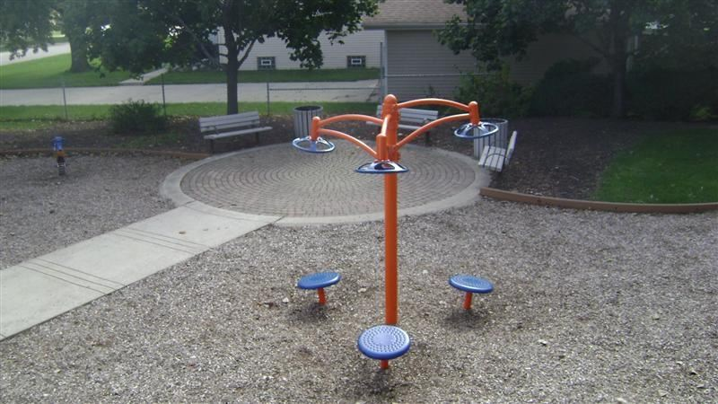 Orange and blue play equipment.